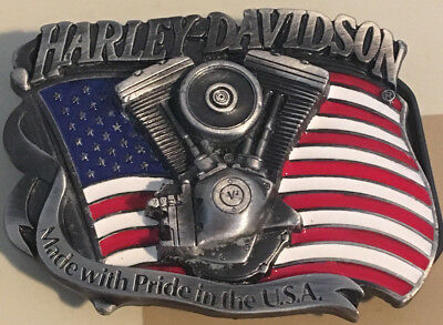 """Harley Davidson Belt Buckle - """"Made with Pride in the USA"""" - H401 - 1991 V-Twin"""