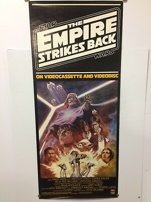 Vintage STAR WARS THE EMPIRE STRIKES BACK CBS/FOX VHS Video Store Poster 53 x 23