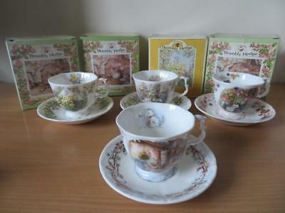 ROYAL DOULTON BRAMBLY HEDGE Spring, Summer, Autumn & Winter Cups & Saucers BOXED