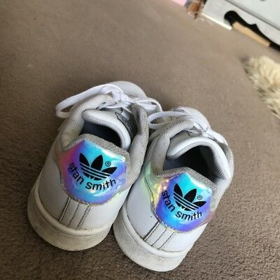 90e791a51b523 Boys Girls Womens ADIDAS Stan Smith Trainers Holographic UK Size 4 100%  genuine