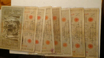 8 qty mixed shape 1910 German Empire Huge 1000 Mark Banknote reichbanknote