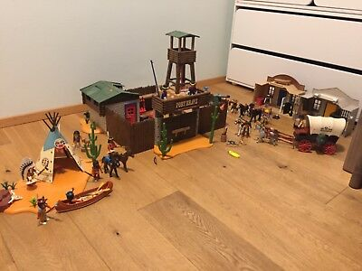 Playmobil Cowboy Indianer Lager 4012 Western City 4398 Fort 5245 Planwagen 5248