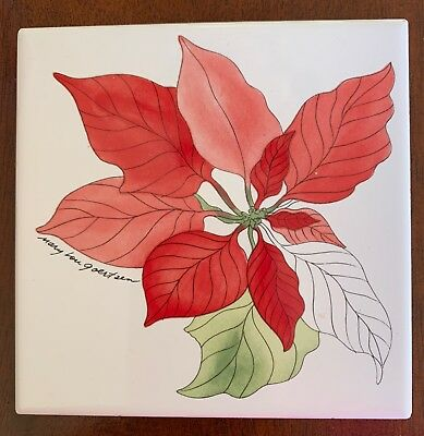 Poinsettia, Water Colors by Block, 1 Coaster, Square Tile w/Cork, Portugal