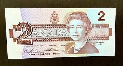 1986 Canada Two Dollar Paper Money Bank Note - UNC , No Tax