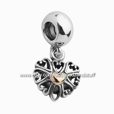Two-Tone Filled with Love Dangle Authentic Pandora Sterling Silver Charm 791274