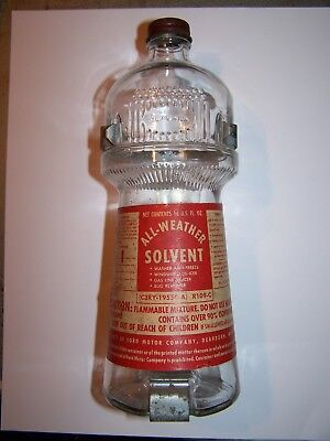 Antique Vintage Ford Motor Company All-Weather Solvent 16 oz Glass Bottle, empty