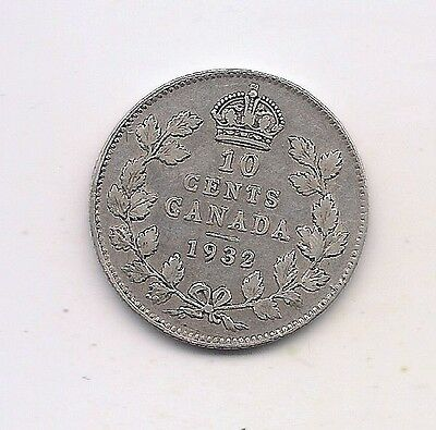 1932 Canada Silver Ten Cent--Full Crown !!