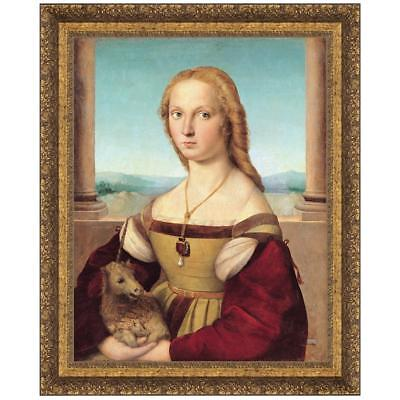 Design Toscano Young Woman with Unicorn, 1506: Canvas Replica Painting: Medium