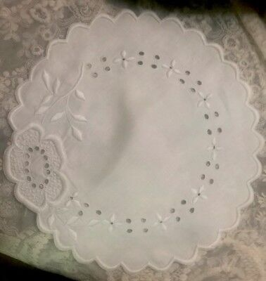"Antique 10"" Round Hand EMBROIDERED Linen DOILY Madeira"