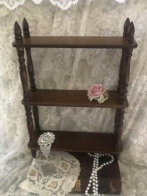 "Wood Curio SHELF For COLLECTIBLES Wall HANGING Or STANDING 16""x 11.5"" X 3"""
