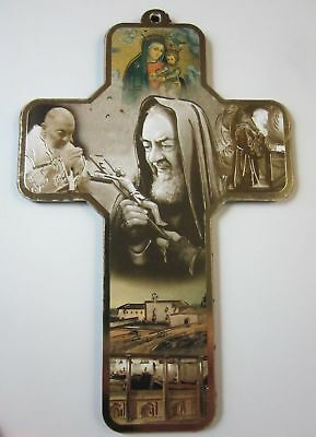 """St Padre Pio Picture Wall Cross on Wood  5"""" Made in Italy"""