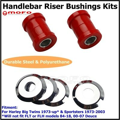 Chrome & Red Polyurethane Handlebar Riser Bushing Kit For Harley Big Twins 73-Up