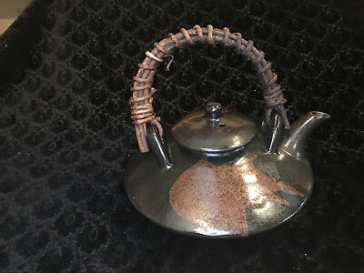 A Vintage Signed Japanese Clay Stoneware Art Pottery Wicker Reed Handle Teapot