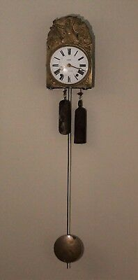 19th Century French Antique Comtoise Wall Clock in Working Order