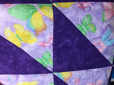 Beautiful Baby Girl Quilt Crib  Blanket Patchwork Purple Butterfly