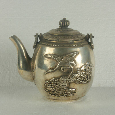 Old Chinese Silve Copper Hand Made Teapot With Qianlong Mark RT0008+a