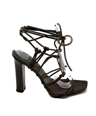 c7b5b8b08580 TOM FORD for Gucci Brown Ankle Strap Wooden Heels Strappy Leather Sandal  Size 10