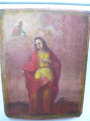 "Antique 19c Russian Orthodox Hand Painted Wood Icon ""Saint Anastasia"""