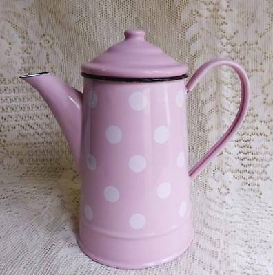Vintage French Pink Polka Dot Enamel Coffee Pot / Tea Pot with Lid