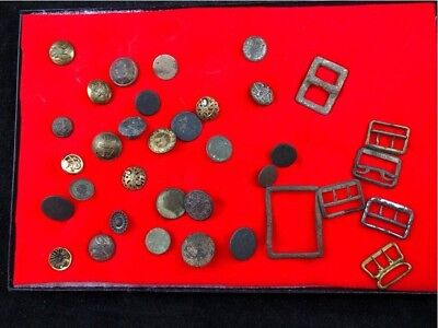 Lot Of Civil War And Other Older Military Buttons And Buckles As Found