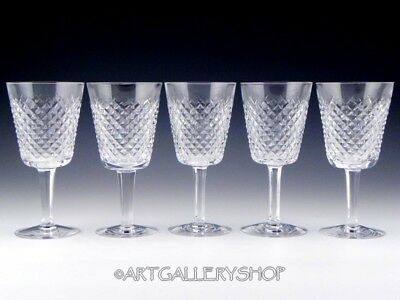 """Waterford Ireland Cut Crystal ALANA 6-7/8"""" WINE WATER GLASSES GOBLETS Set of 5"""