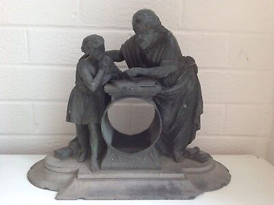 Antique, Bronze  Clock Case, With Slate Base, Two Figures