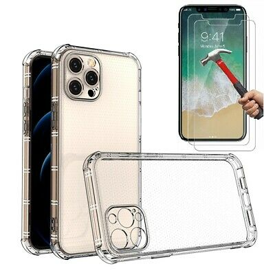 Case and 2PK Screen Protectors iPhone XR Case X Xs Max 6 6S 7 8 Plus Cover Clear