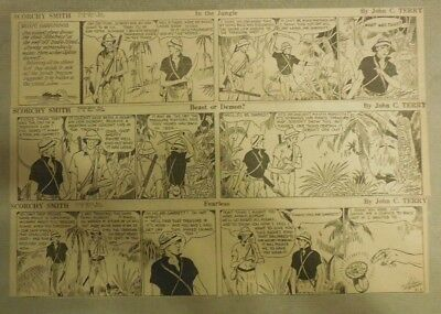 (309) Scorchy Smith Dailies by John C. Terry from 1933 Size: 3 x 12 inches
