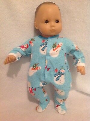 15 Bitty Baby Christmas Snowman pjs sleeper pajamas Girl/boy Doll Clothes outfit