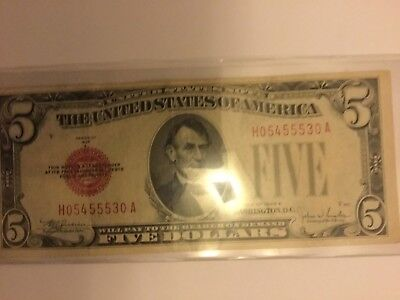 1928-E $5 Five Dollar Red Seal Legal Tender United States Currency