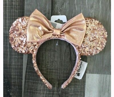 Rose gold minnie ears Disney Parks Minnie Mouse Sequins Headband Authentic New