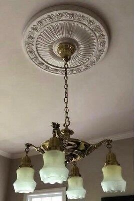 Gorgeous Victorian Brass Antique 4 Pan Light Fixture 4 Original Shades