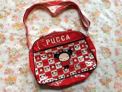 Pucca Handbag Purse Vinyl 2000s Anime Character Kawaii Girls Red Shoulder Bag