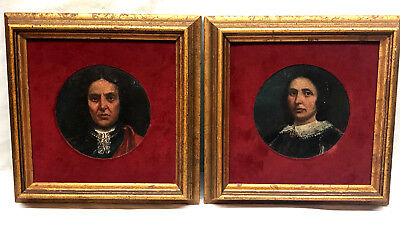 Pair of 19th-Century English School Portraits - Small Round Oil Painting Antique