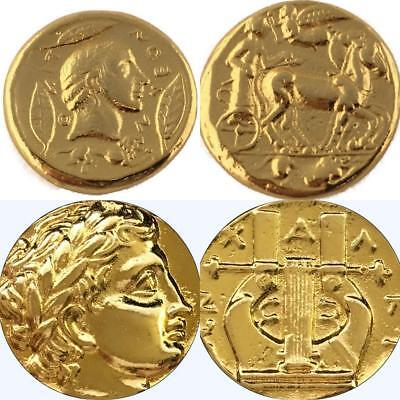 Apollo & Charioteer, Apollo & Lyre, 2 Greek Coins, Percy Jackson Fans (27+30-G)