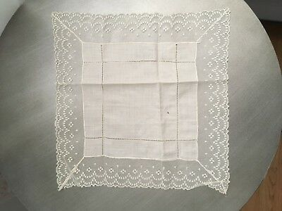 Antique Hankie Ivory Irish Linen Hand Stitched Vintage Wedding Handkerchiefs