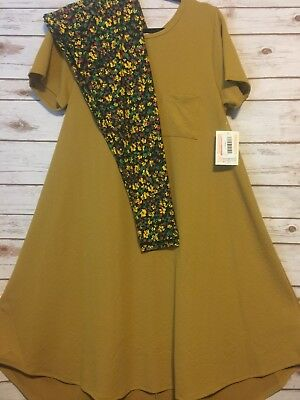 NWT LuLaRoe Outfit L CARLY Solid Mustard Yellow Textured & TC Floral Leggings