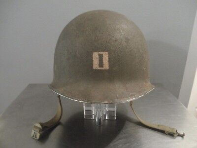 WW2 Era US Army Fixed Bail Steel Captain Helmet & Liner