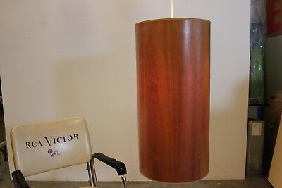 """Lampa Extra Large Cherry Wood Drum Pendant 15 x 30"""" Made in New York"""