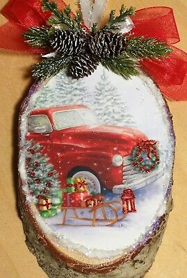 Christmas Red Truck  barked wood slice *Glittered* img Christmas Ornament sleigh