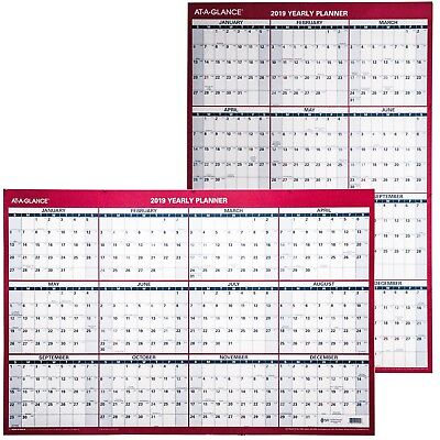 """At-A-Glance 2019 Yearly Planner PM26-28, Dry Erase Wall Calendar, 24 x 36"""""""