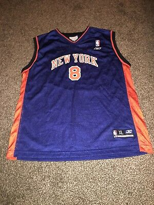 VTG 90s New York Knicks Latrell Sprewell  8 NBA Jersey REEBOK STHROWBACK  Boys XL 3d86a4dd0