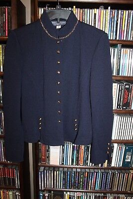 St. John Collection Marie Gray Navy Blue Santana Knit Jacket Blazer 6 gold(b149)