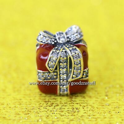 Authentic Pandora Silver Red Sparkling Surprise Charm Bead #791772CZ *Retired*