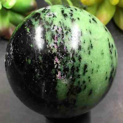 MAGIC--359g 59mm Natural Ruby In Zoisite Sphere&Stand&Ball Healing R9042