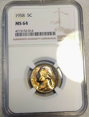 NGC MS-64 1958-P Jefferson Nickel! Gorgeous golden toning w/ rainbow highlights!