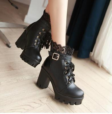 2019 Ladies Vogue Lace Round Toe Buckle Strap Gothic Block High Heel Boots Hot