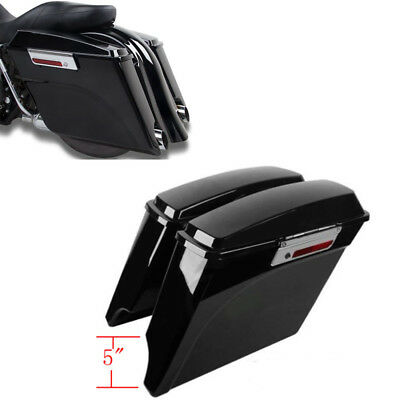 """5"""" Extended Stretched SaddleBags w/Keys Latchs For Harley Touring FLHT FLHTCU"""