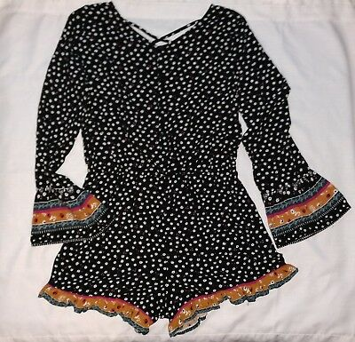 Art Class Girls One Piece Romper Black White Shorts Button Down XL (14/16)