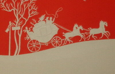 """Vintage Christmas card, lovely red and white coach and horse, 6"""" used"""